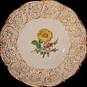 SALE Meissen Porcelain Floral Ceremonial Plate / Center Bowl  - Handpainted with Gilt 1924 - .