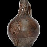 SALE 17th Century Bellarmine / Bartmann Stoneware Jug from Germany