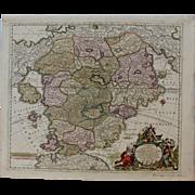 SALE Rare 18th Century Baroque Map of Utopia / Cockaigne / Schlaraffenland (Matthaus Seutter)