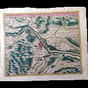 SALE Decorative Antique Map of Vienna during the Ottoman-Habsburg wars (Visscher 1690)