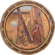19th Century 5th Station of the Cross (Simon of Cyrene helps Jesus carry the cross ...