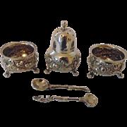 Sterling Silver 5 piece cruet set London 1889