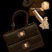 Vintage Judith Leiber Black Satin and Crystal 007 Bag, c. 1990