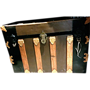 Antique Flat-Top Steamer Trunk with Traveling Wardrobe Inserts, c. 1890