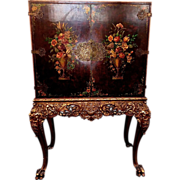 Baroque Revival Silver Cabinet on Ornately Carved and Gilded Stand, c. 1920