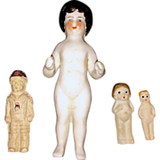 """5"""" German Frozen Charlotte China Doll and Three Frozen Babies"""