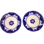 Two Beautiful Antique Albany Royal Semi-Porcelain Flow Blue Plates on Display Plate Hangers, c