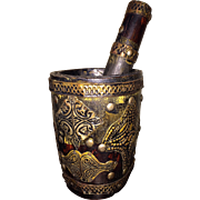 Early 20th Century Hand-Carved Wooden and Hammered Brass Mortar and Pestle from Morocco
