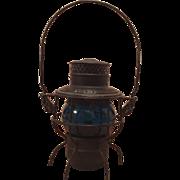 Adulate - Adams & Westlake Blue/Aqua Globe Railroad Lantern - c. 1920