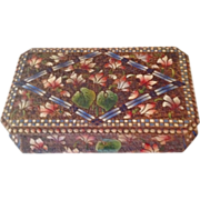 Vintage French Poker-work Jewel Box (Pyrography) c. 1910.
