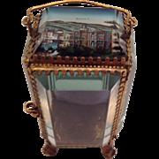 Antique French Glass Casket-Watch Holder/Jewel Box- Royat C.1890