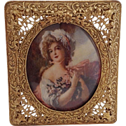 19th Century French Miniature Painting of Mme Lavard