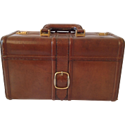 Beautiful Vintage French, Real Leather Suitcase