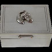 Christian Dior Silver Plated Dogs Head,Jewelry/keepsake Box. 1950's