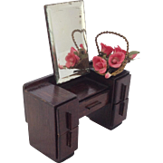 Vintage Dressing Table for Dolls House, Bevelled Mirror. C.1920