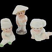 Set of Three Adorable Victorian Bisque Cake Decorations. Figures of Children.