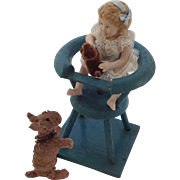 Old doll house, High Chair and Dog with Bisque Girl Doll and Teddy Dog.