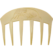 Beautiful French Ivory (faux Ivory) Signed Auguste Bonaz Celluloid Geisha Hair Comb.