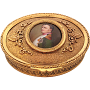 Beautiful Napoleon III French Bronze Dore / Ormolu Trinket Box with Hand-Painted Portrait of .