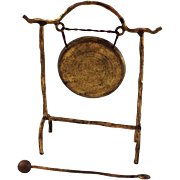 Delightful Gilt Metal Dinner Gong for Doll House. C1910
