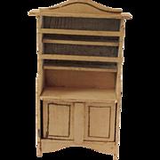 Vintage Painted Wooden Dresser with Plate-Rack Back.
