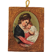 Beautiful Gilt Metal Embossed Framed  Kronheim Print for Doll-house. Woman and Child.
