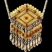 Turkmenistan Antique Silver Amulet Carnelian Stone Turkmen Middle East Necklace