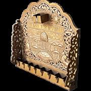 Vintage Copper Hanukkah Menorah Damascus Silver gold inlay Judaica Jerusalem