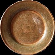 Antique Copper Islamic Plate hindu & Arab Inscribed