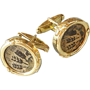 Antique Roman Coin Gold Cuff links 14K Sleeve Cufflinks Shirt Jewelry