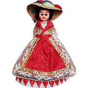 """Vintage Red Diamond Dress Doll Apron and Hat 5"""" Tall"""