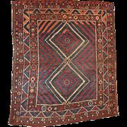 5.9' X 6.10' ( 180cm X 213cm) Hand made antique collectible Turkish Bergama rug ...