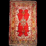 Hand made antique Turkish Anatolian Angora rug 4' x 6.7' ( 122cm x 207cm ) 1890
