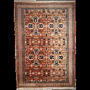 Hand made vintage Turkish rug 4.1' x 6.1' ( 126cm x 187cm ) 1970
