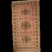 5.1' X 9.5' ( 157cm X 291cm )  hand made vintage Turkish Oushak rug 1950