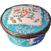 SALE French Early 1800s Enamel Patch or Trinket Box. Marked.