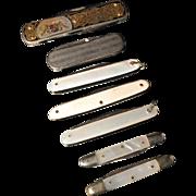 SALE Vintage Collection of Pocket Knifes. Bone MOP Metal.