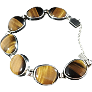 SALE 1944 Vintage Sterling Silver Tiger Eye Bracelet. Hallmarked Victor Janson, Lindesberg, ..