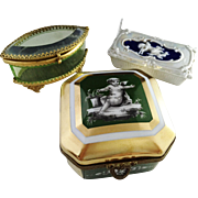 SALE 3 c 1890-1910 Trinket Boxes. Mansard Paris Sevres