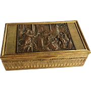 SALE Massive Antique French Late 19th C Gilt Bronze Jewelry Casket. Marked. Grand Tour. ...