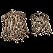 SALE Pair of French La Belle Époque Solid Silver Pendant Purses. Hallmarked. c 1900