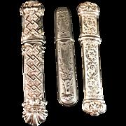 SALE 3 Solid Silver Sewing Needle Etui Case. Etui à Aiguilles. Hallmarked France 1890-1910.