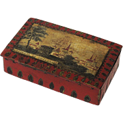 SALE Early 1800s French Papier Mache Trinket Jewelry Box. Châlons-en-Champagne, France