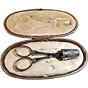 SALE Antique French Hallmarked Silver Sewing / Embroidery Tools Set, Presentation Case Etui. .