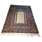 "SALE 1960's Turkish prayer rug 4'1"" x 6'7"" Free shipping & appraisal"