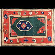 "SALE Semi-Antique Persian Gabbeh rug 4'0"" x 5'0"" Free shipping & appraisal"