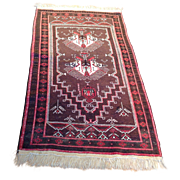 """SALE 1960's Persian Balouch rug 2' 9"""" x 5' 10"""" Free shipping & appraisal"""