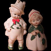 """REDUCED Pair German Bisque Irish Nodder /  Bobble Head Dolls 1/4"""""""