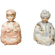 Pair German Bisque Middle Eastern Man & Woman Nodder / Bobble Head