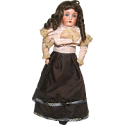 JD Kestner 154 Bisque Shoulderhead Doll Leather / Cloth Body Partial Label